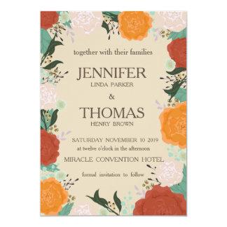 Tarjeta floral de la invitación del boda del