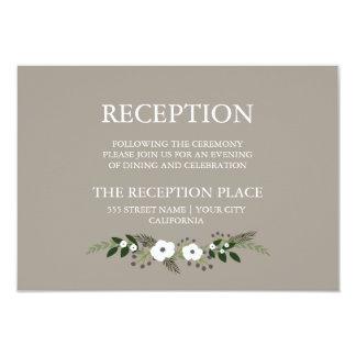 Tarjeta floral de la recepción de la guirnalda - invitación 8,9 x 12,7 cm
