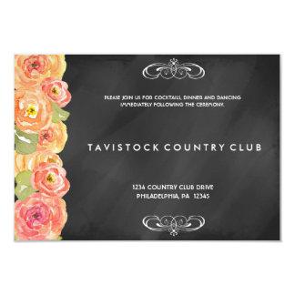Tarjeta floral de la recepción de la pizarra de la invitación 8,9 x 12,7 cm