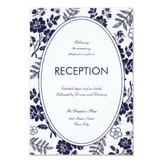 Tarjeta floral de la recepción de los azules invitación 8,9 x 12,7 cm