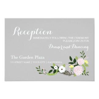 Tarjeta floral de la recepción del jardín - gris invitación 8,9 x 12,7 cm
