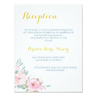 Tarjeta floral de la recepción nupcial de la invitación 10,8 x 13,9 cm