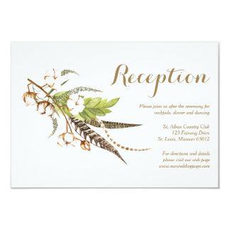 Tarjeta floral de la recepción nupcial del algodón