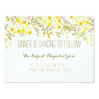Tarjeta floral de la recepción nupcial del invitación 16,5 x 22,2 cm