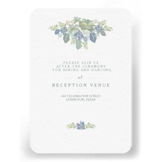 Tarjeta floral de la recepción nupcial del ramo invitaciones personales