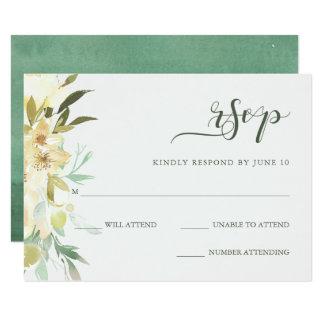 Tarjeta Floral de marfil con la acuarela del verde el |