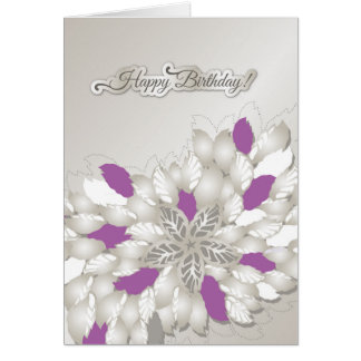 Tarjeta floral de plata del feliz cumpleaños de