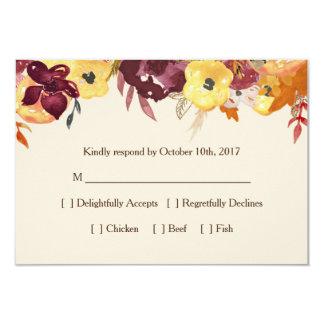 Tarjeta floral de RSVP de la caída para casarse o Invitación 8,9 X 12,7 Cm