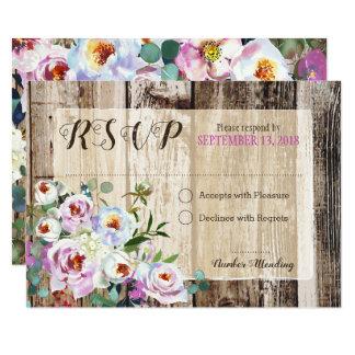 Tarjeta floral de RSVP del Peony elegante rústico