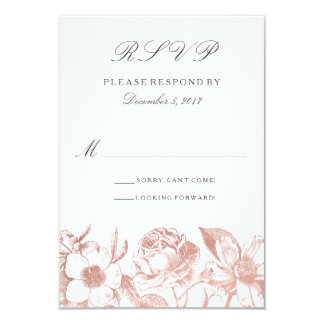 Tarjeta floral de RSVP del vintage color de rosa