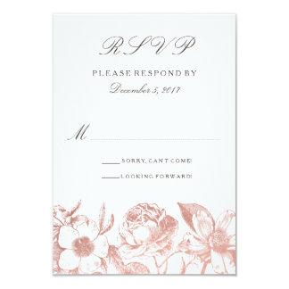 Tarjeta floral de RSVP del vintage color de rosa Invitación 8,9 X 12,7 Cm