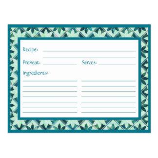 Tarjeta floral decorativa de la receta de las postal