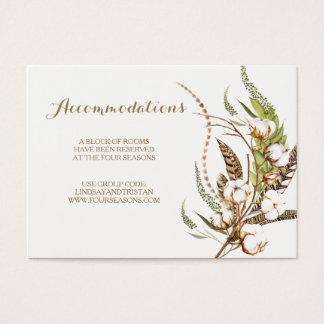 Tarjeta floral del alojamiento del boda del