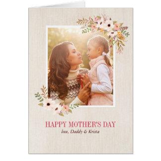 Tarjeta floral del día de madre de la acuarela