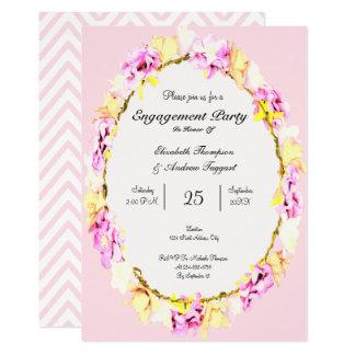 tarjeta floral del fiesta de compromiso de la flor
