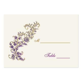 Tarjeta floral del lugar de la tabla del oro púrpu plantilla de tarjeta de negocio