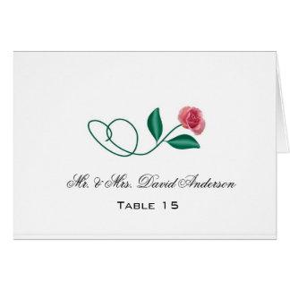 Tarjeta floral del lugar del boda