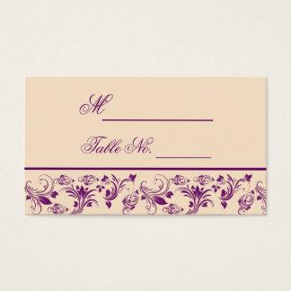 Tarjeta floral del lugar del boda de la voluta de