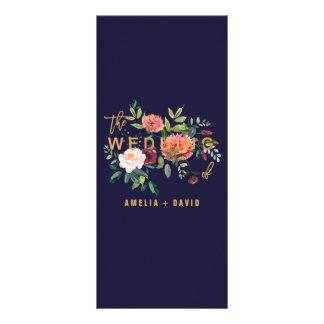 Tarjeta floral del menú de la cena del otoño