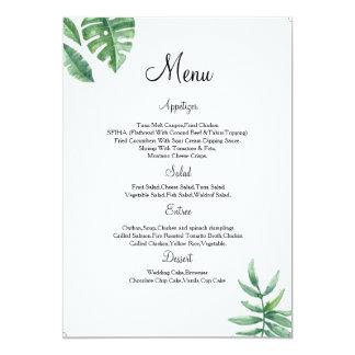 Tarjeta floral del menú del boda