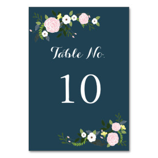 Tarjeta floral del número de la tabla del jardín