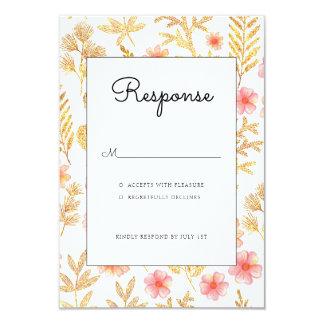 Tarjeta floral del rsvp de la invitación del boda