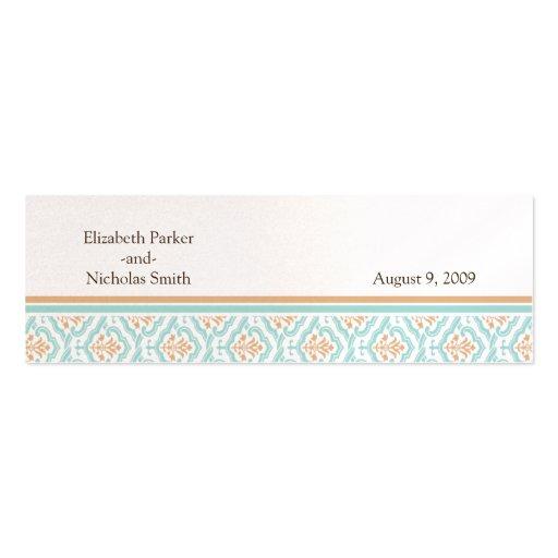 Tarjeta floral del Web site del boda del papel pin Tarjeta De Visita