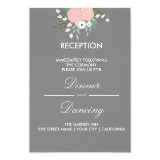 Tarjeta floral elegante de la recepción - gris invitación 8,9 x 12,7 cm