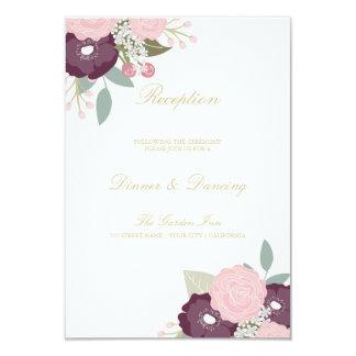 Tarjeta floral elegante de la recepción invitación 8,9 x 12,7 cm