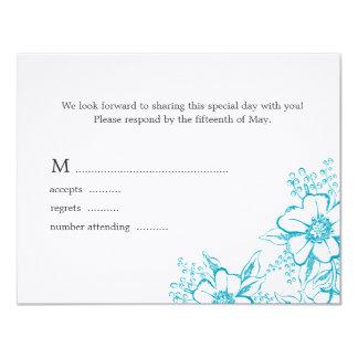 Tarjeta floral elegante de la respuesta del boda invitación 10,8 x 13,9 cm