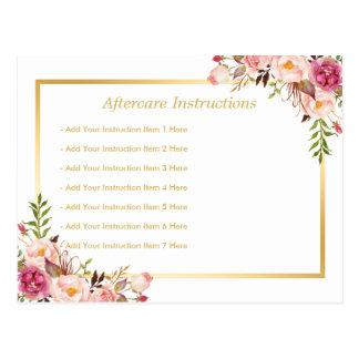 Tarjeta floral elegante del Aftercare del salón