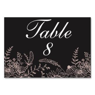 Tarjeta Floral elegante en número negro de la tabla del