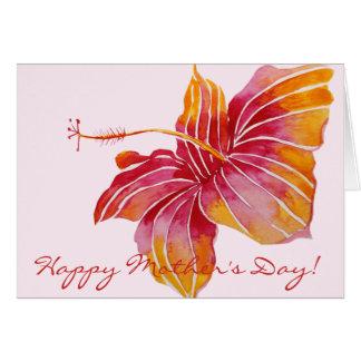 Tarjeta Floral hawaiano feliz del día de madre el  