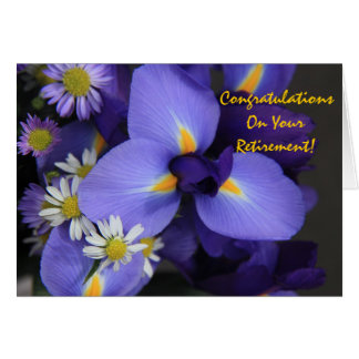 Tarjeta Floral, iris y mini margarita, retiro