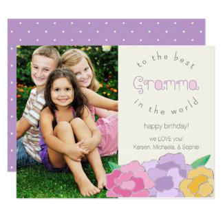 Tarjeta floral preciosa de la foto de Gramma del Invitación 10,8 X 13,9 Cm