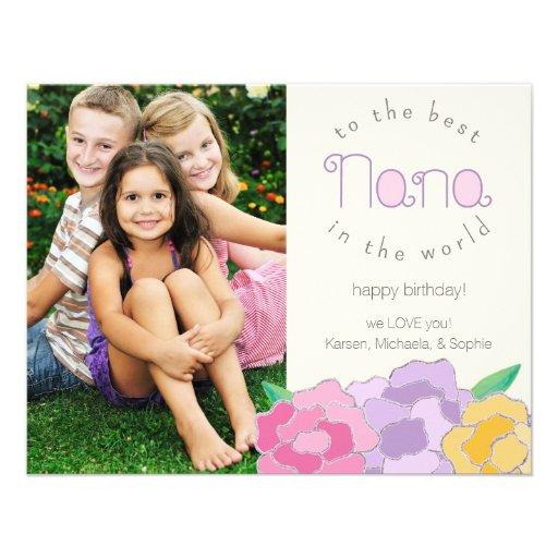 Tarjeta floral preciosa de la foto de Nana del fel Comunicado Personalizado