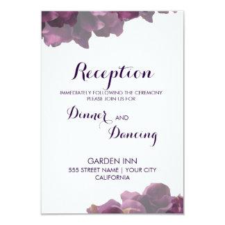 Tarjeta floral púrpura de la recepción invitación 8,9 x 12,7 cm