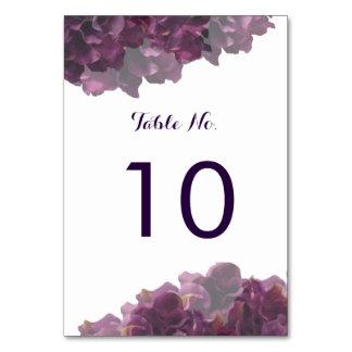 Tarjeta floral púrpura del número de la tabla