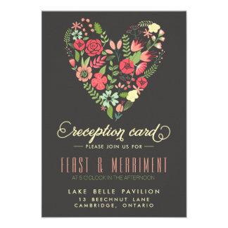Tarjeta floral romántica de la recepción del comunicados personales