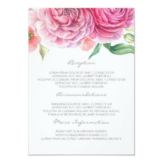 Tarjeta floral rosada de la huésped de la