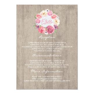 Tarjeta floral rosada de la huésped de la invitación 11,4 x 15,8 cm