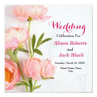 Tarjeta floral rosada de la recepción