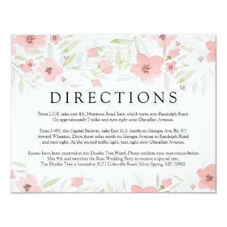 Tarjeta floral rosada de las direcciones del boda