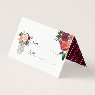 Tarjeta floral rosada del lugar del boda del tarro