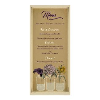 Tarjeta floral rústica del menú del boda del tarro
