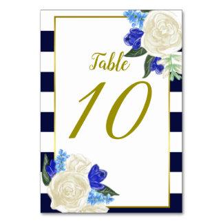 Tarjeta floral y del oro azul profunda de la tabla