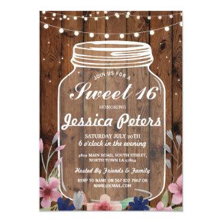 Tarjeta Florales de madera del tarro del fiesta rústico