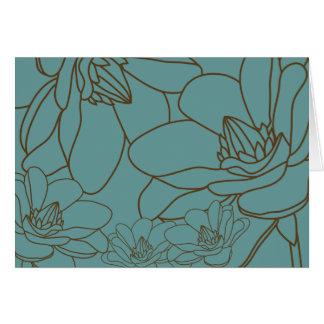Tarjeta Florales elegantes le agradecen cardar - azul y