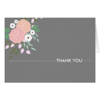 Tarjeta Florales elegantes le agradecen las notas - gris