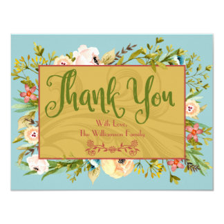 Tarjeta Florales personalizados le agradecen cardar